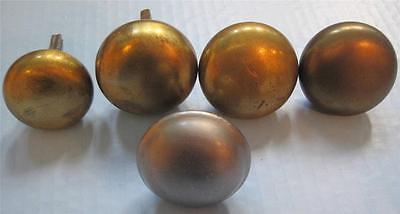Vintage 5 Brass Round Door Knobs Only Plain Antique Variety Lot 2.25""