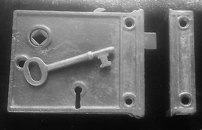 Antique Vintage Cast Iron RIM Knob LOCK w/ Working Key & KEEPER All WORKS GREAT