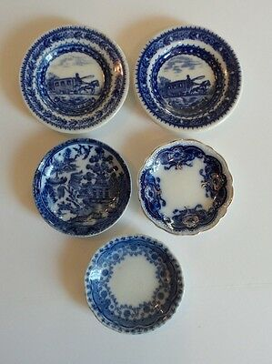 Group/5 Antique Blue & White Butter Pats, English & American Transfer Ware