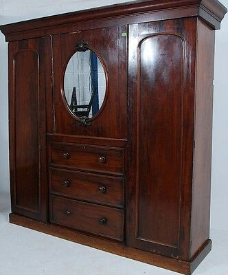 Victorian Compactum Wardrobe / Linen Press
