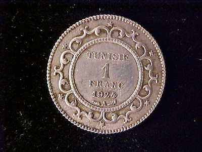 Tunisia One Franc 1924A Km250 Au. Rare As Only 303 Struck