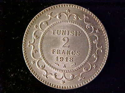 Tunisia Two Francs 1918A Au-Unc Rare As Only 303 Struck