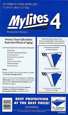 50 - E. GERBER MYLITES 4 CURRENT / MODERN 4-Mil Mylar Comic Bags Sleeves 700M4