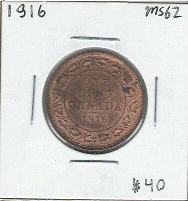 Canada 1916 Large 1 Cent MS62 Red & Brown