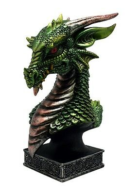 Medieval Hand Painted Cold Cast Resin Mini-Bust: Green Dragon