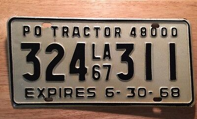 """LOUISIANA-"""" 1967-68 """"- TRACTOR 48,000- License Plate. Plate # 334 311. Nice Deal"""