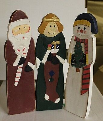 Wood 3 Panel hinged Christmas Decoration - Santa, Snowman, Wise Man