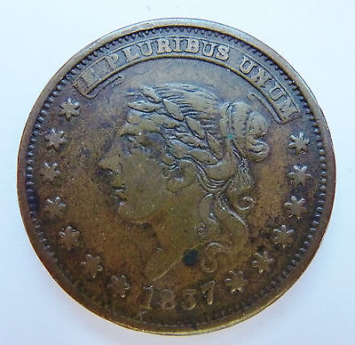 1837 Hard Times Token ~ Liberty Head / Not One Cent ~ Ht 48 / Low 33 ~ Rarity 1