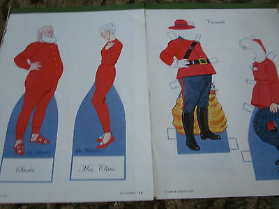 Vtg Tom Tierney Christmas Santa/Mrs Claus Paper Doll VISITS COUNTRIES / CANADA