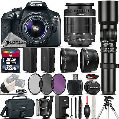 Canon EOS Rebel T6 SLR Camera 1300D + 18-55mm IS + 500mm 4 Lens Kit - 32GB Kit