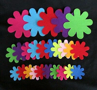 25 Assorted Colour Polyester Felt Flowers - 30mm - 80mm