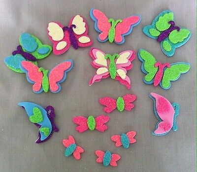 12 x 3D Foam Glitter Butterfly Stickers