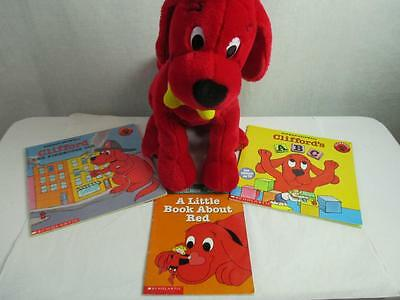 Clifford Big Red Dog Plush with Book Lot of 3