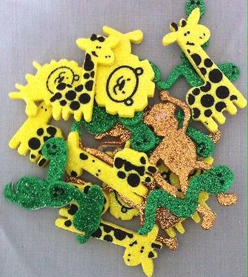 20 Glitter Foam Jungle Stickers 20mm-50mm - Giraffe, Lion, Monkey, Snake