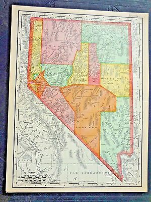 Nevada Map   1903  Original Colored Antique Map, Great Condition