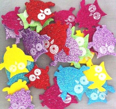 20 Glitter Foam Owl Stickers 20mm-50mm - Various Colours