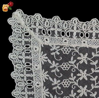 Vintage Embroidered Net Floral Vines Floral Doily Cream Square Scallop