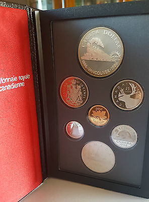 1986 Royal Canadian Mint Silver  Double Dollar 7 Coin set