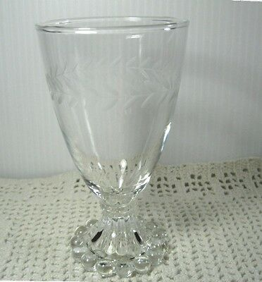 Etched Laurel Boopie Footed Goblet - 8 oz water Glass LkNew Imperial Hocking