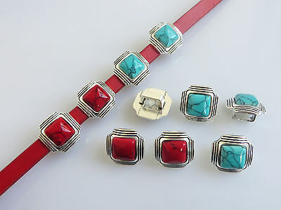 5pcs Antique Silver Turquoise Slider Spacer For 10x6mm Licorice Leather Bracelet