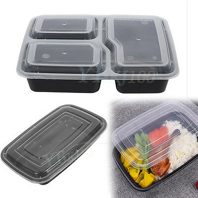 10pcs Food Plastic Meal Prep Container Storage Box Lid Microwave Freezer Safe