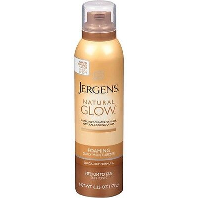 Jergens Natural Glow Foaming Daily Moisturizer  Med -Tan 6.25 Ounce, New