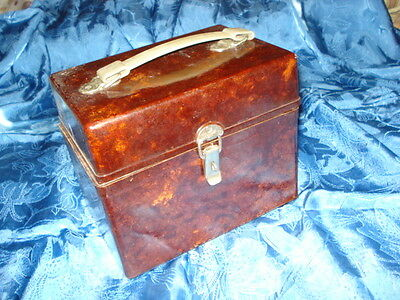 Old Vintage Large Brown Bakelite Box Handbag Case Tools Machinery Mid Century