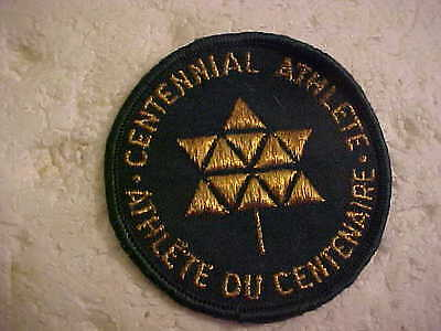 Bilingual Centennial Athlete Round Green And Gold Patch