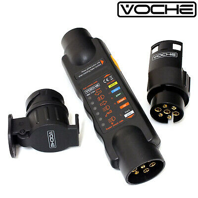 Voche' 12V 7 Pin Trailer Light Wiring Circuit Tester Plug Socket 13 Pin Adapter