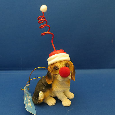 Beagle Puppy Dog Red Nose Christmas Ornament Springy Santa Hat New Holiday Gift