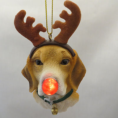 Beagle Dog Blinking Nose Christmas Ornament Reindeer Antlers New Holiday Gift