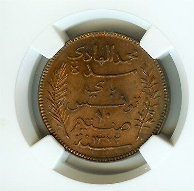 Tunisia Ah1322/1904-A 10 Centimes  Ngc Ms64 Rb