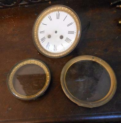 3 french clock bezels with glass