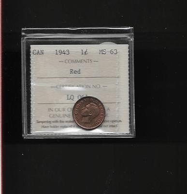 1943 Canada Small Cent  Red