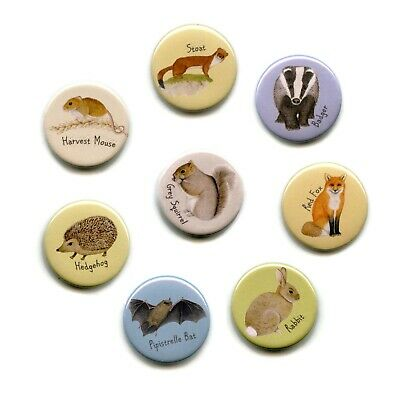 British Wild Animal 38mm Button Magnets available singly and in sets