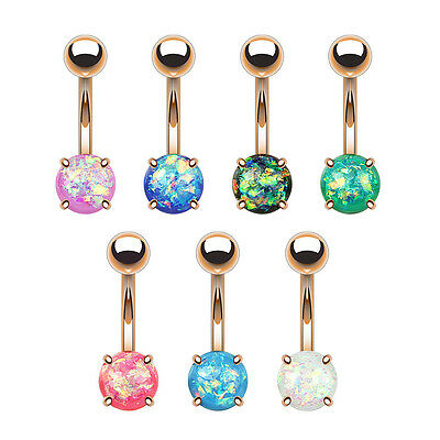 7pcs Opal Glitter Prong Set Rose Gold Plated Belly Button Rings Naval Navel