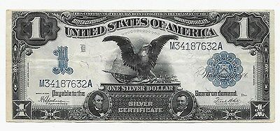 1899 Black Eagle Large Size One Dollar Silver Certificate ***vf Very Fine***