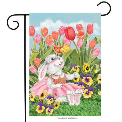 "Bunny and Tulips Easter Garden Flag Spring Floral Briarwood Lane 12.5"" x 18"""