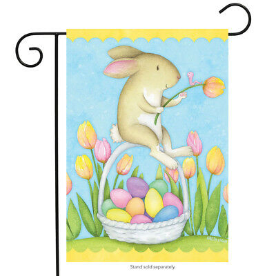 Happy Easter Bunny Garden Flag Decorated Eggs Tulips 125 x 18