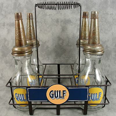 Lot Of 4 Gulf Glass Motor Oil Bottles & Gulf Metal Carrier Display Rack