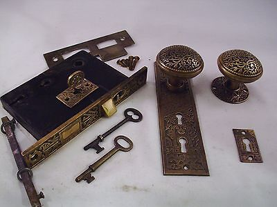 Antique Cast Bronze Door Knob Entrance Set DBL Key Dead bolt Thumb Turn #681
