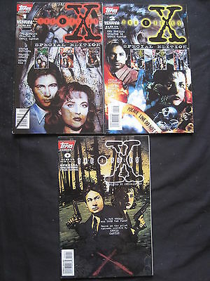 """THE X FILES SPECIAL EDITION #s 1 & 2 + """"0"""" (3 in TOTAL) MULDER,SCULLY.TOPPS.1996"""