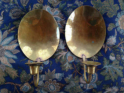 Early Amer. Handcrafted Artisan Repro Brass Sconces, S.smithers#427Kg-14