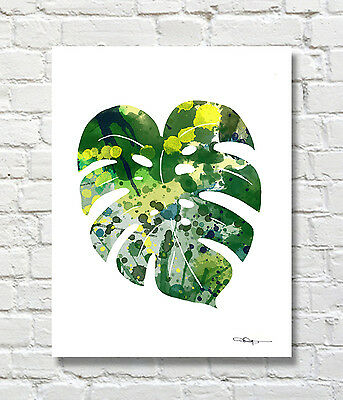 Tropical Leaf Abstract Watercolor Painting Art Print by Artist DJ Rogers