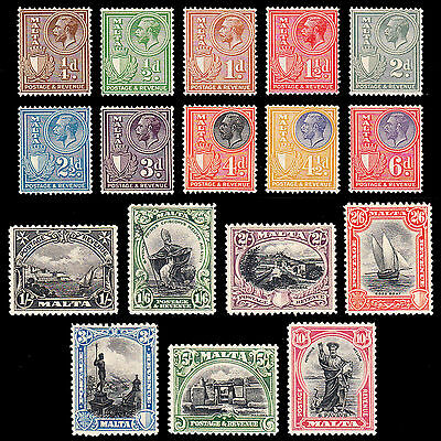 Malta KGV 1930 set of 17 very fine mint hinged SG193/209 CV £225