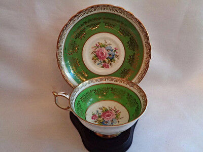 Lovely Paragon Bone China Cup & Saucer-Green-Gold-Floral