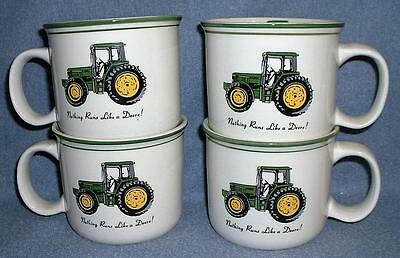 4 LARGE John Deere Mugs Cups Soup Bowls Licensed Product Gibson