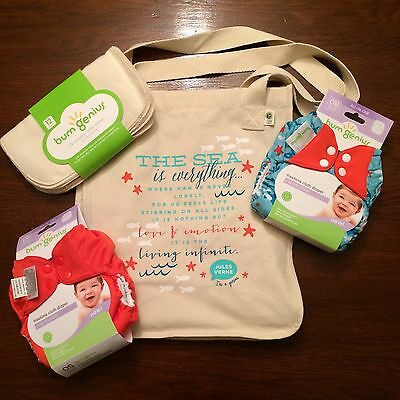 Bumgenius Goodie Bag Lot W/ Wipes Jules & Sassy Freetime  Cloth Diapers