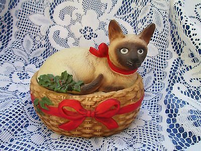 Schmid 1984 Gordon Fraser SIAMESE CAT Christmas MUSIC BOX