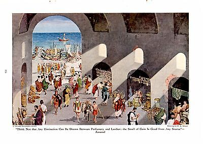 1946 Market and Wharf at a Roman Port Ancient Rome H M Herget Art Print RARE